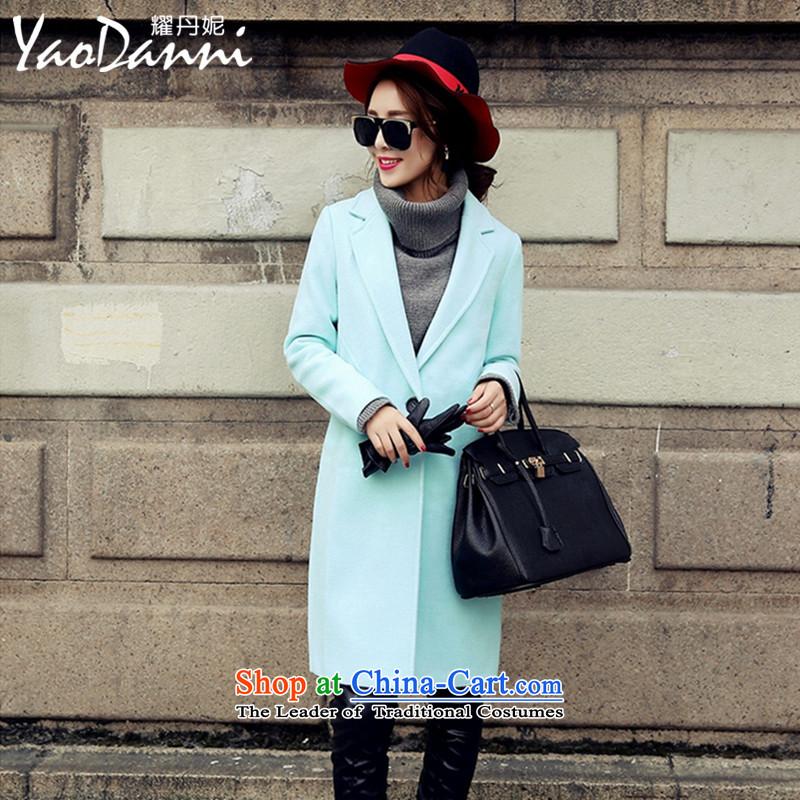 Yiu-Dan Ni 2015 winter coats new women's European site high-end fashion solid color jacket in Sau San wool? long green燤