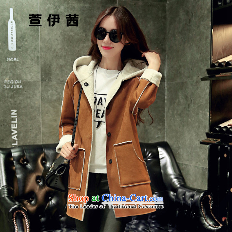 Xuan of sin by 2015 autumn and winter Korean fashion stitching leather jacket, lint-free long Lamb Wool warm-ups leisure cap coats female6,618 gross?-M for 110 catties following