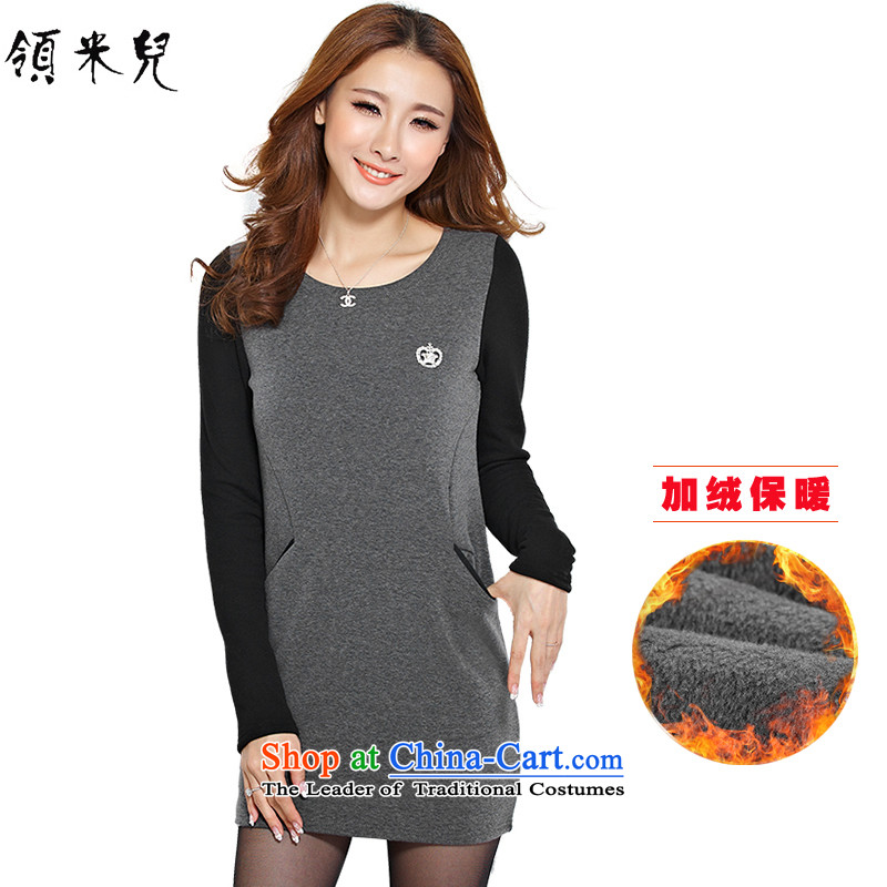 For M-Large 2015 Women's autumn and winter new plus lint-free warm sweater thick mm video forming the thin air collision color stitching leisure long-sleeved dresses Y11763XL Gray