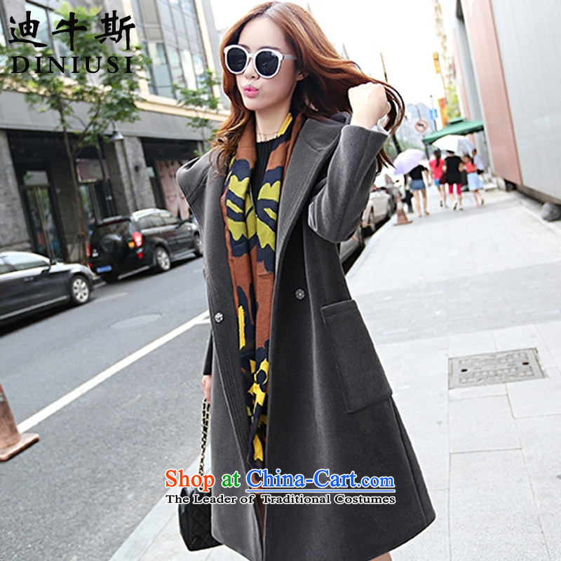 The achievement of the�15 autumn and winter new Korean stylish duplex a wool coat girl in long hair? jacket carbon Sau San燤
