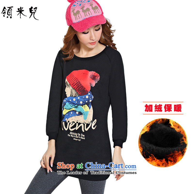 For M- Large 2015 Women's autumn and winter new thick mm video thin stamp lint-free in warm Thick Long sweater, forming the Netherlands Y1172 3XL black