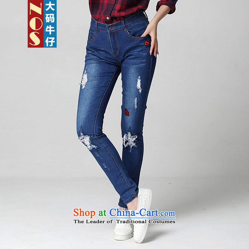 Nospure cotton hole in the jeans thick larger female decorated sister as bridesmaid but large waist graphics castor trousers female W40681 Dark Blue38