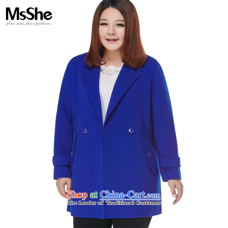 Large msshe women 2015 new autumn and winter, double-sided 96_ gross? 10613 jacket royal blue XL