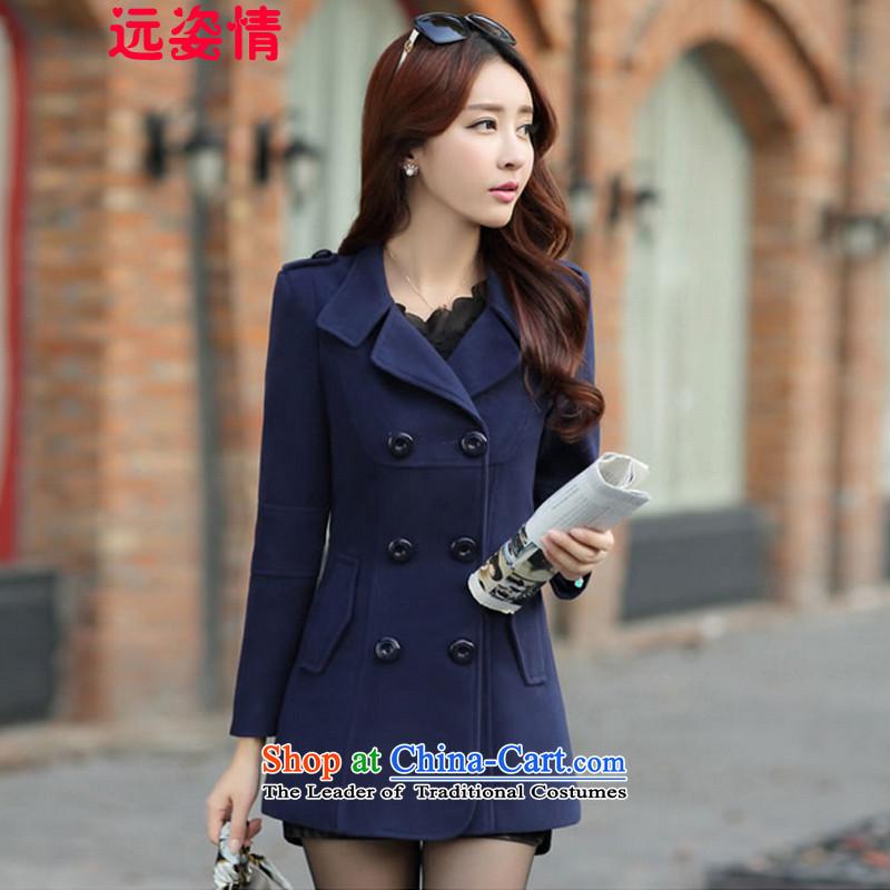 Gigi Lai of far? female 2015 Autumn coat for women for winter new Korean version in long hair Sau San? female 200 navy blue jacket燲XL