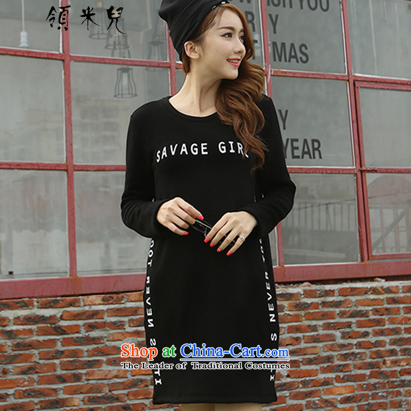 For M-2015 XL female autumn and winter new thick mm thin letters in stamp graphics long load warm thick wool sweater, forming the Netherlands Y13503XL black