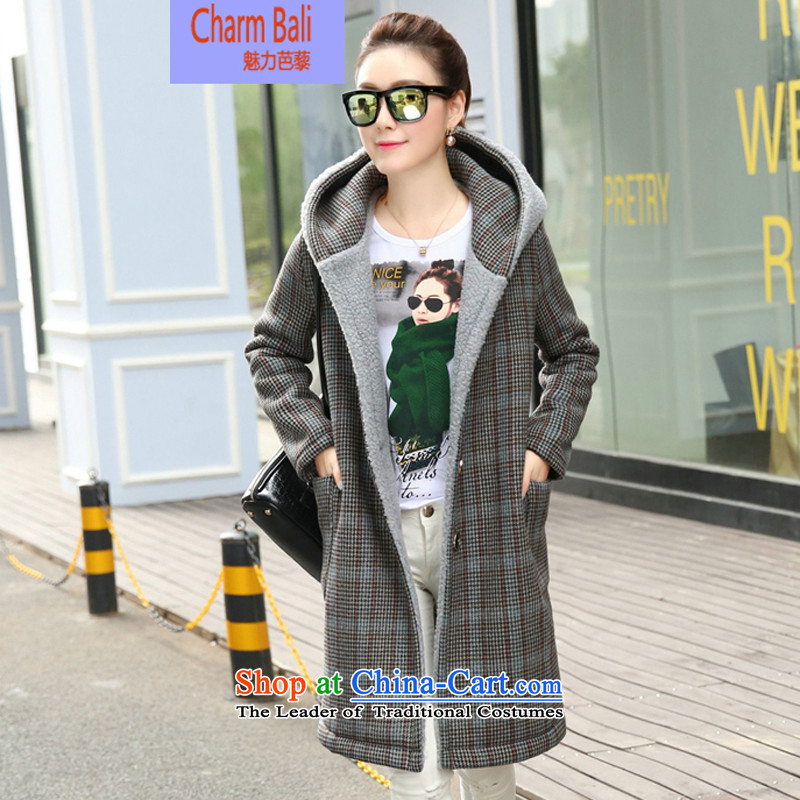 2015 winter clothing New Women Korean stylish pocket Leisure Link Sau San cap single row clip hair color picture jacket coat??XL