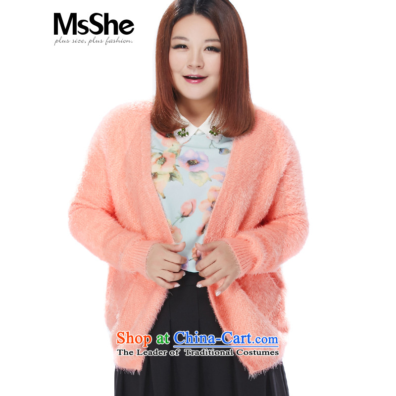 Msshe xl women 2015 new winter clothing solid color feather sweater cardigan jacket and pink�L 8589