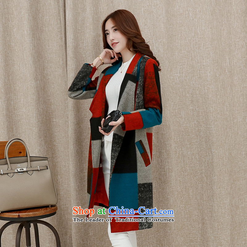 Sin has聽2015 winter clothing new Korean citizenry video thin stylish color plane collision minimalist gross jacket female blue lake?.聽  L