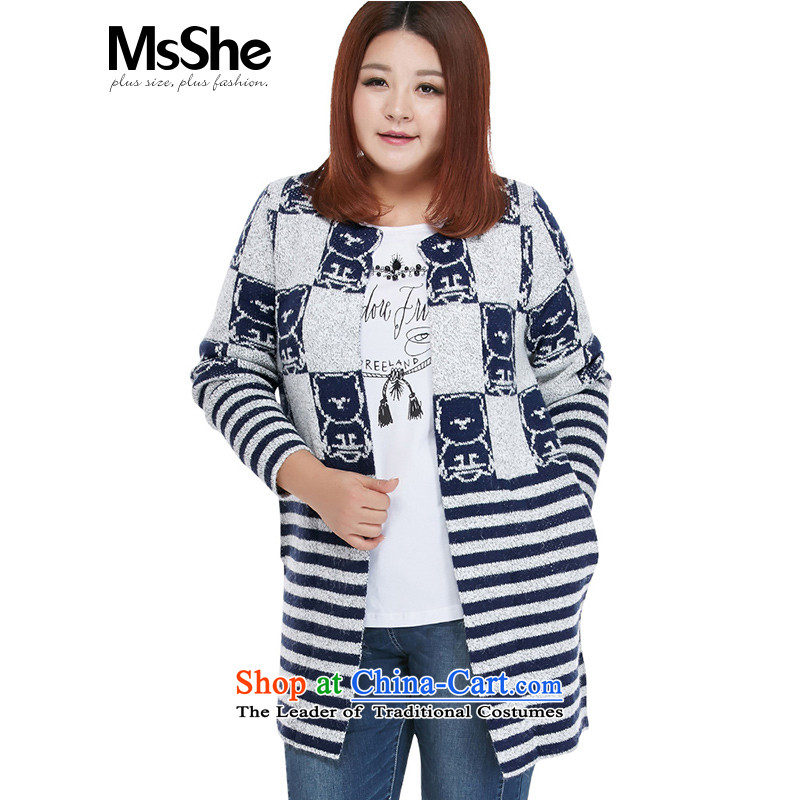 Msshe xl women 2015 new winter clothing lovely pattern warm long-sleeved sweater cardigan in long 4570 Blue knocked Gray 2XL