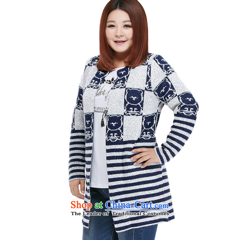 Msshe xl women 2015 new winter clothing lovely pattern warm long-sleeved sweater cardigan in long 4570 Blue Gray 2XL, rammed the Ms Susan Carroll, Selina Chow (MSSHE),,, shopping on the Internet