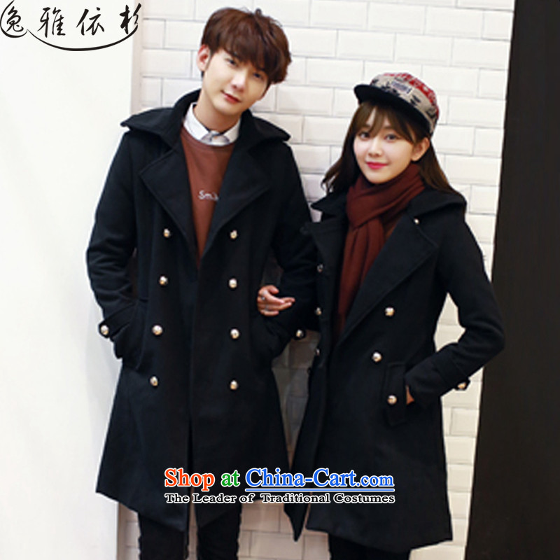 In accordance with the performance, 2015 autumn and winter new Women's jacket in Korean long hair? BOXED NZ108 coats female couple black womenL