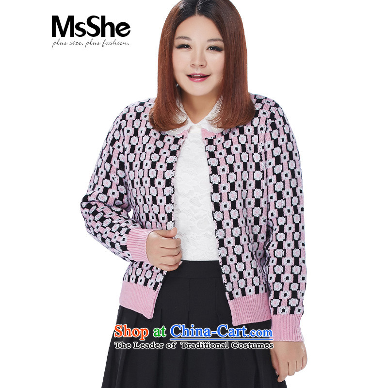 Msshe xl women 2015 new winter clothing latticed jacquard knitting cardigan sweater coat 8598 ALS101_ pink�L