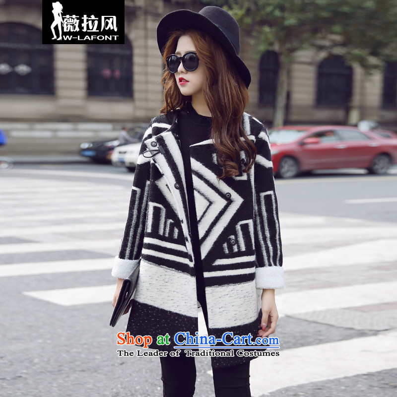 Vera wind fall 2015 Korean double row in long thick wool two tablets of detained large lapel a relaxd casual temperament Cashmere wool coat jacket female? winter picture color M