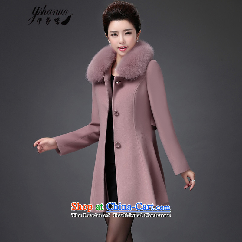 Isabel La Carconte 2015 autumn and winter new women's woolen coat luxury Fox for Sau San over the medium to longer term Gross Gross female Korean jacket? YS8831 and pink XXL