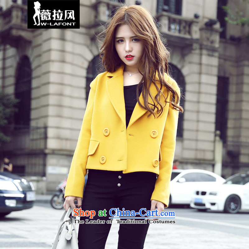 2015 Autumn wind Vera new Korean fashion, double-large lapel a relaxd casual straight hair? Small incense wind jacket, cashmere overcoat female short winter clothing Yellow M