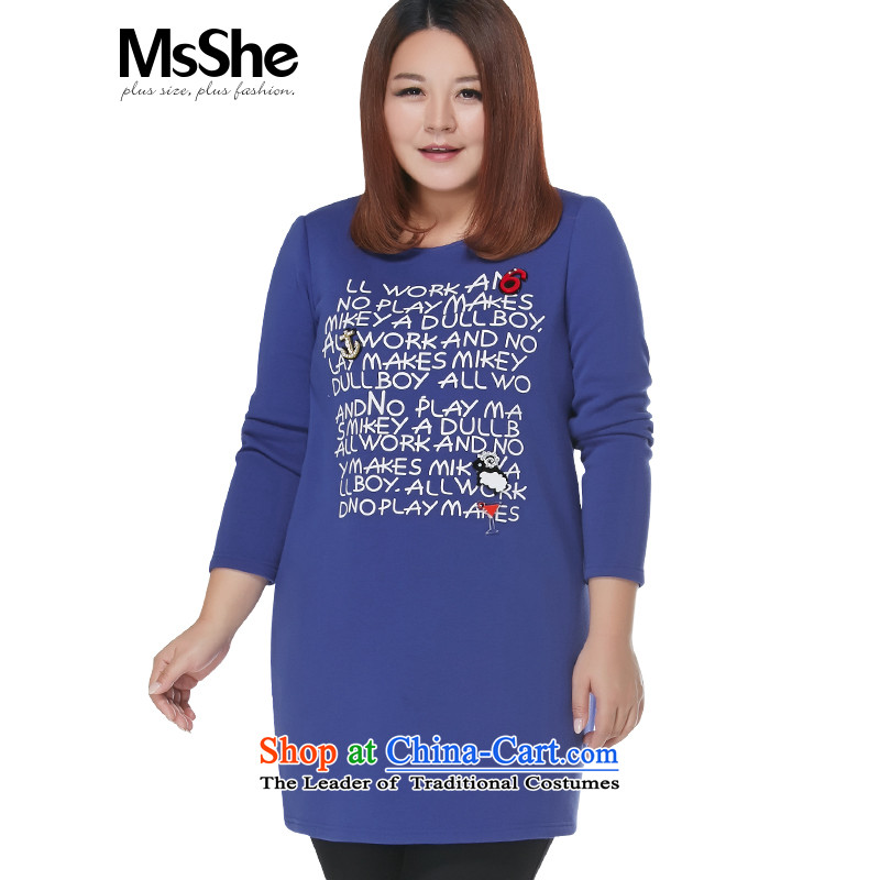 Msshe xl women 2015 new winter clothing thick sister in the Pearl River Delta long nail stamp shirts skirt 10789 color blue shirt燲L