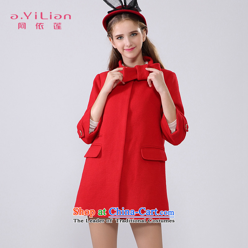 Aida 2015 Winter New Lin sweet lady pure colors in a bow tie long wool coat jacket female CA44197231? The Red XL
