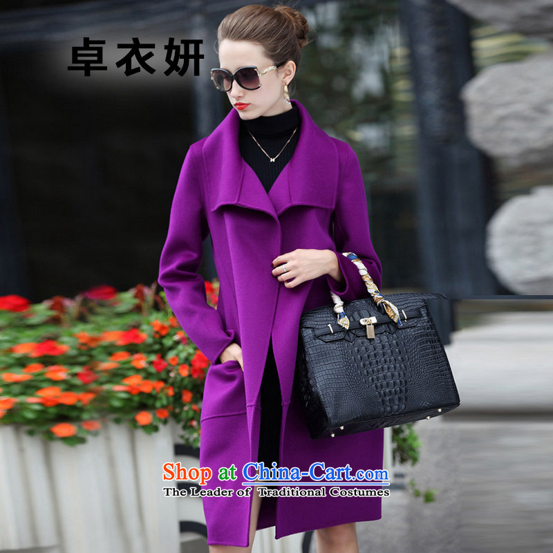 New Korea autumn 1442_2015 version stylish loose wild long hair that women's jacket violet燲L
