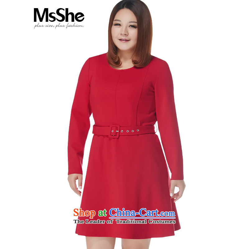 Msshe xl women 2015 New Fall_Winter Collections thick MM Foutune of A Swing Sau San 10829 skirt waistband Red2XL
