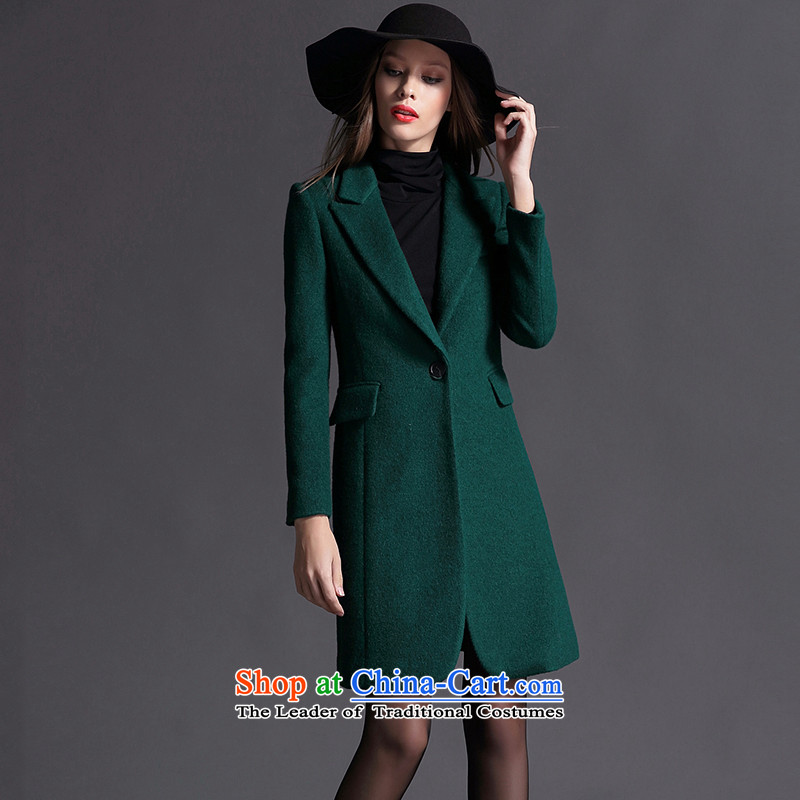 Gross girls jacket? Long autumn and winter female Korean clip cotton suit Sau San thick wool a wool coat dark green燲L