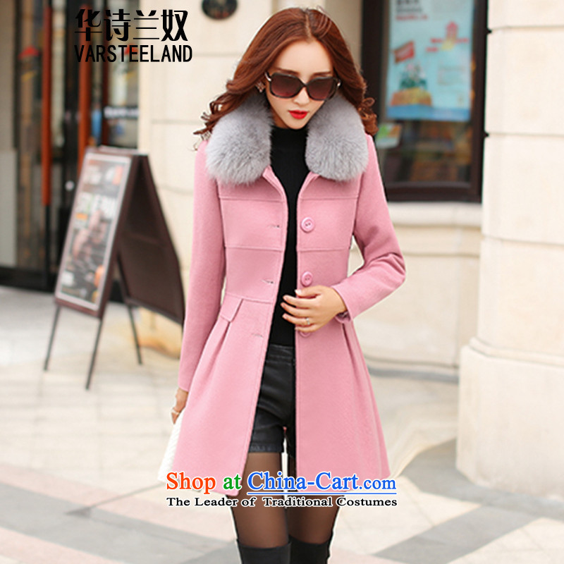 China, slave聽2015 autumn and winter new gross girls jacket? long hair a wool coat Korean women's thin graphics Sau San Z316 pink聽XL