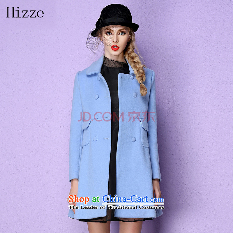 The European site stylish beauty hizze long coats female double-wool a wool coat leisure gross? 2015 autumn and winter coats female new blue S