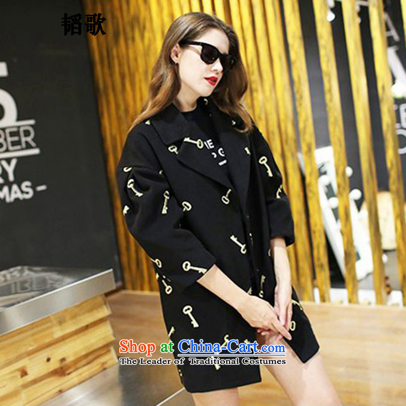 Song Tao large 2015 Women's gross? the new autumn and winter coats thick MM loose embroidery a wool coat to intensify the black C2133 5XL around 922.747 180-195