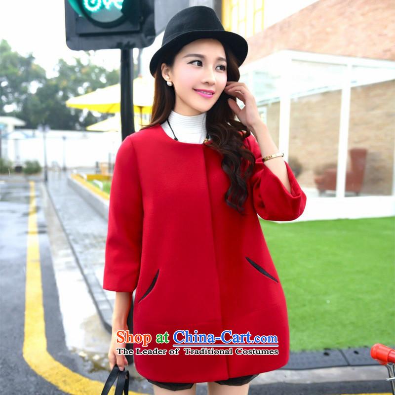 The Taliban Slobodanautumn 2015 new for women Korean without collars in gross? jacket long temperament loose cloak? coats, RedXL