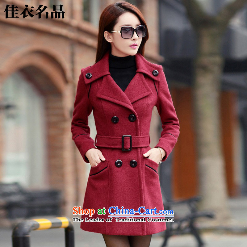 Better, Yi 2015 winter clothing new women's Korea version in the thin long graphics Sau San gross coats female W7437? wine red L