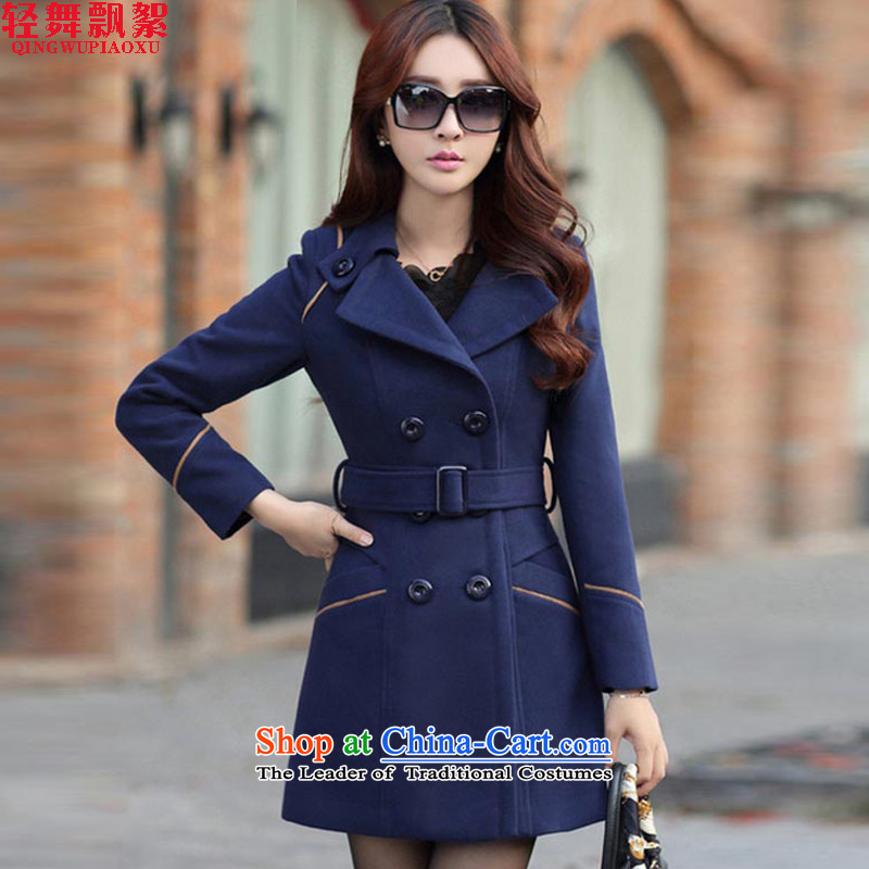 Light dance drift wadding gross? female autumn and winter coats of autumn 2015 for women Korean female coats of Sau San Mao? 8858 Navy L