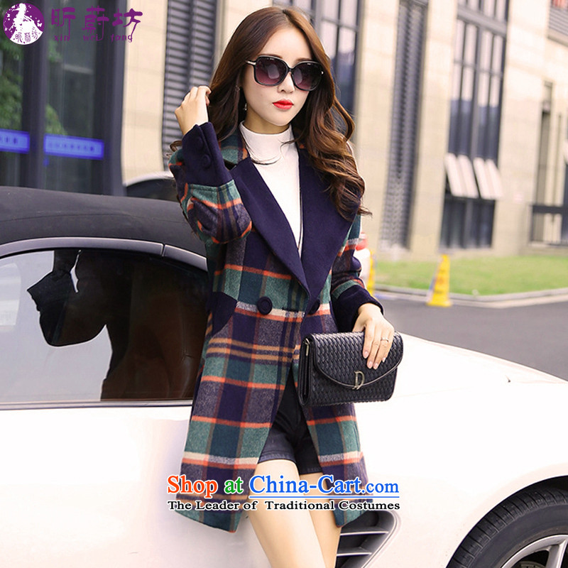 The litany of workshops for autumn and winter clothes in the new long block gross? coats of Sau San jacket girl power blue patterned燲L