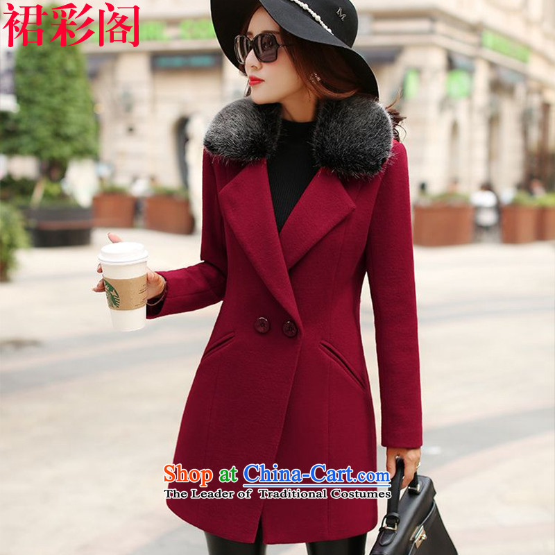 The multimedia room hair so dress jacket Women 2015. long winter clothing Korean women's large and stylish lounge gross for a wool coat 8516 wine red XL