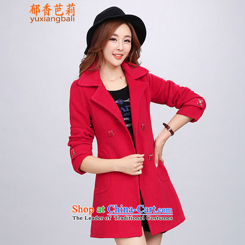 Yu Heung and Li Mao? 2015 autumn and winter coats girl on new women's decoration in the body of this long coats jacket female 2018 large red燣