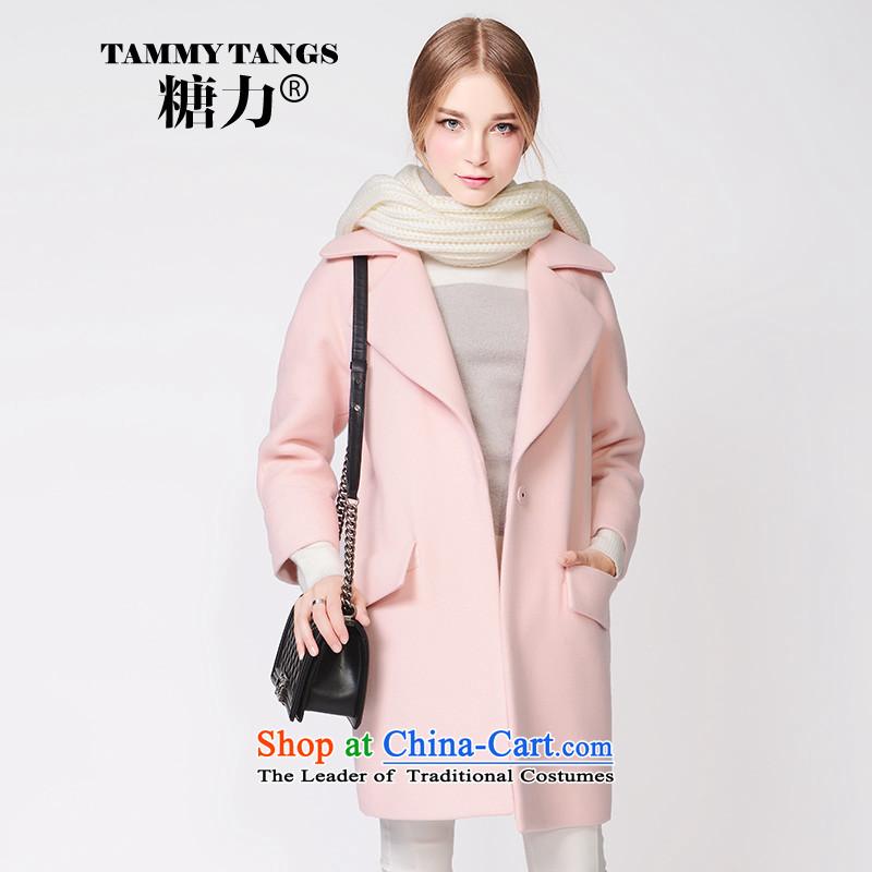 In2015 winter sugar new European site pink lapel in long wool coat jacket women gross? honey powder (pre-sale 5 December shipment) S