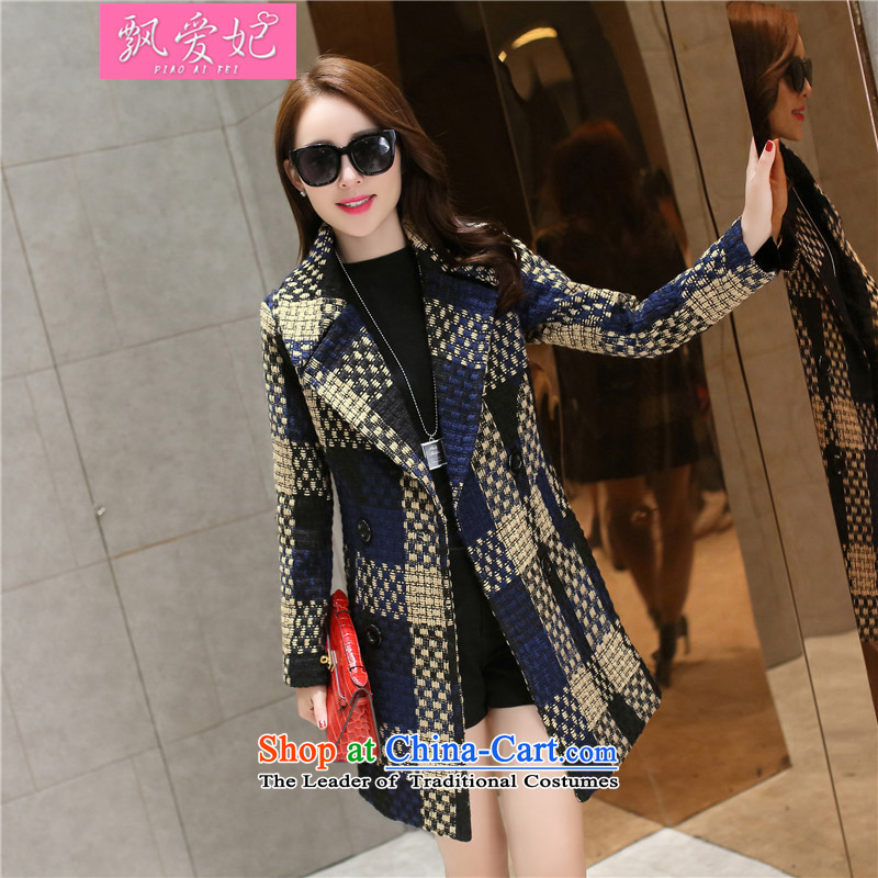 Piao lover, winter 2015 new gross jacket female thick in this long and Stylish coat it grid Sau San female Foutune of video thin navy blue M