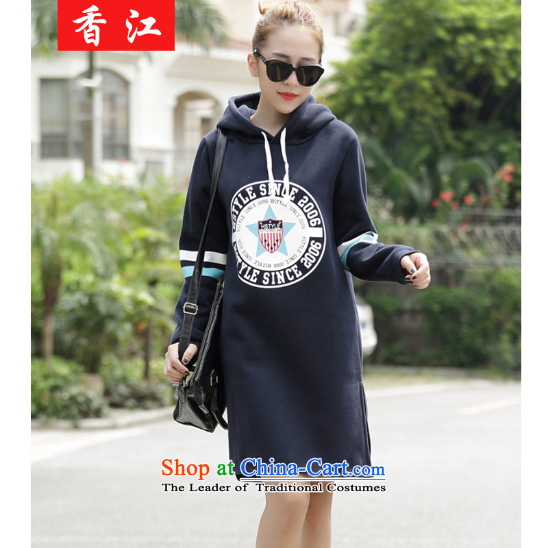 Xiang Jiang 2015 to increase the number of women in the autumn of New fat mm long-sleeve sweater video thin coat thick sister 200 catties dress jacket 5058 Navy larger 4XL