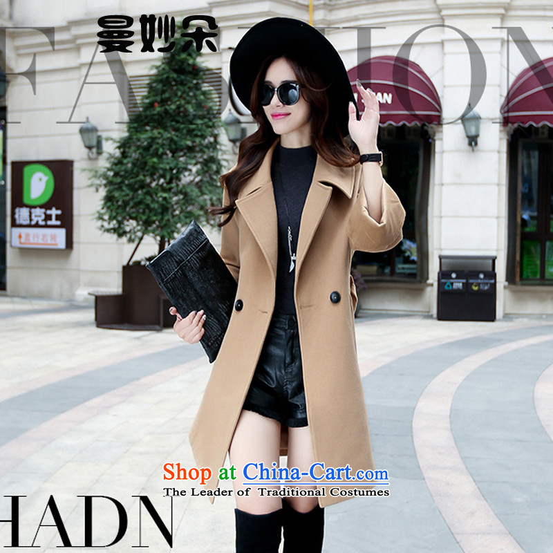 A strange flower 2015 autumn and winter decorated new women's body graphics thin large compartments, double-Gross Gross? coats jacket? female gross? female Korean jacket khaki L