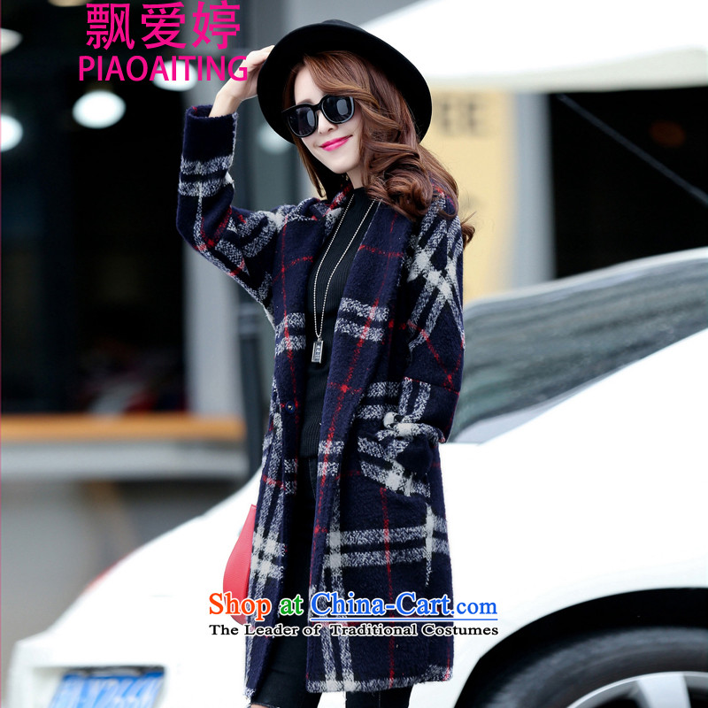 Piao Love Ting2015 Fall_Winter Collections new grid wool coat girl in long?_ won a larger version of the jacket female navyM