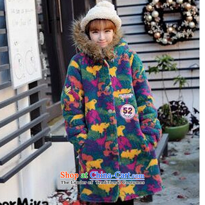 2015 Fall_Winter Collections new Korean version of large numbers of female students with loose cotton waffle thick MM thick, Hin thin cotton coat of Korea in thick sister thick long jacket, map color燲L