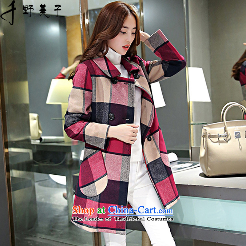 Chino Fumiko larger women to increase load autumn wool coat in the medium to long term, it plaid jacket color photo of gross? about 165-180 4XL