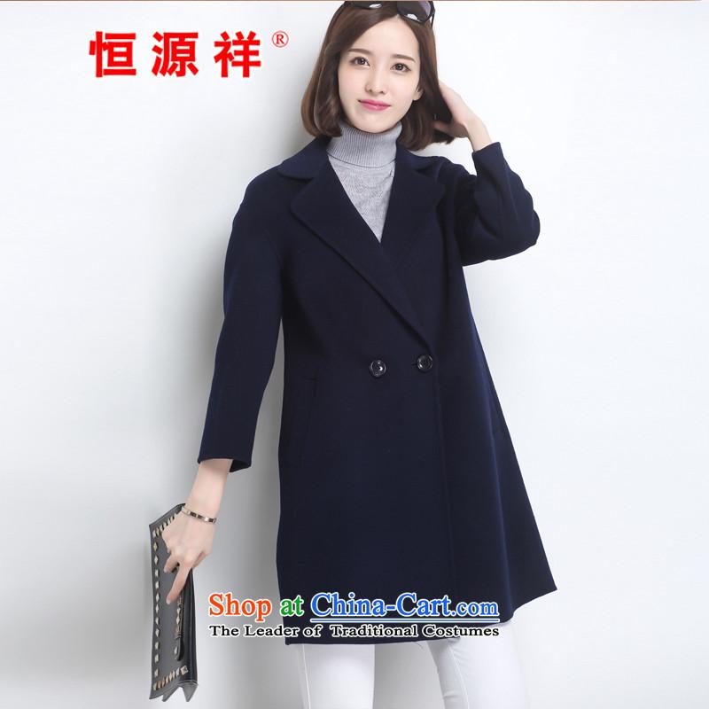Hengyuan Cheung 100% Pure Wool double-side COAT 2015 autumn and winter Ms. new Korean long dark blue jacket? grossM.