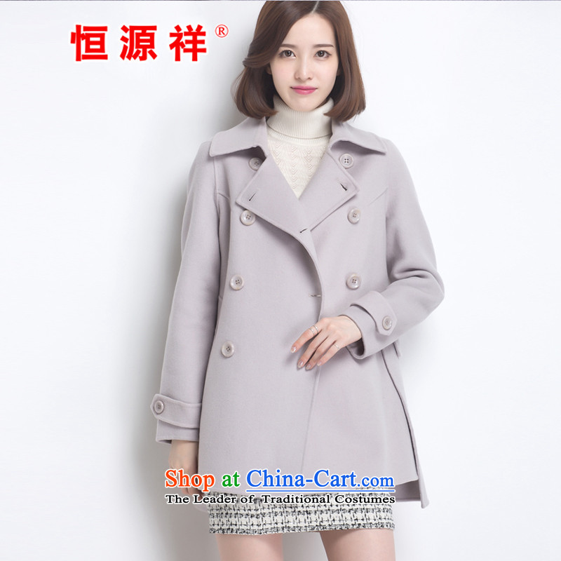 Hengyuan Cheung women wool double-side COAT 2015 autumn and winter new Korean version of the fleece jacket is long gray M.