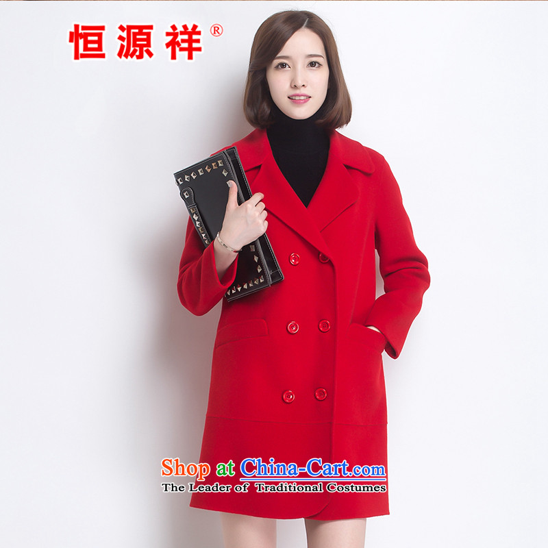 Hengyuan Cheung women wool double-side COAT 2015 autumn and winter new Korean version in the double-long hair? jacket red S