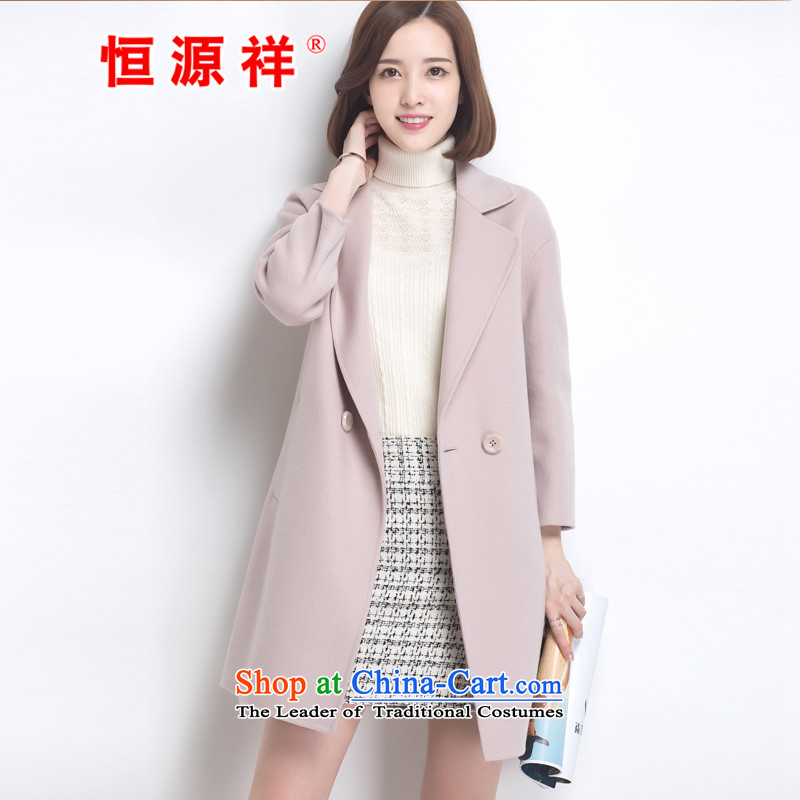 Hengyuan Cheung 100_ Pure Wool double-side COAT 2015 autumn and winter Ms. new Korean long hair? jacket light grayS.