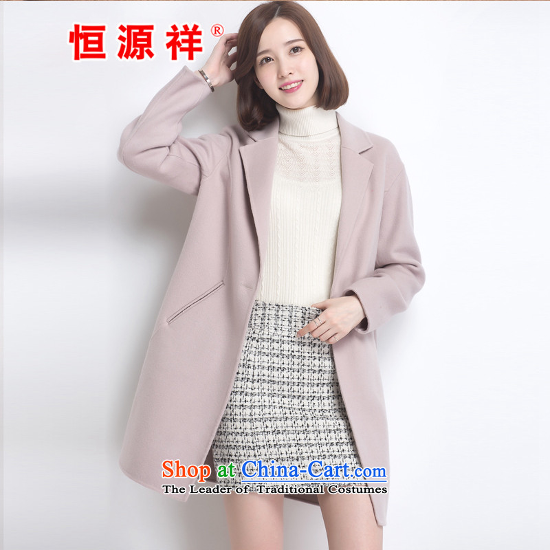 Hengyuan Cheung 100_ Pure Wool double-side COAT 2015 autumn and winter Ms. New Version won long gross light gray jacket?燬.