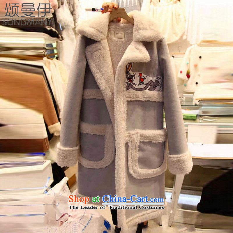 Chung Cayman El 2015 autumn and winter new thick mm heavy code women cotton coat t-shirt, long jacket 15067 stamp  XXXL Light Gray