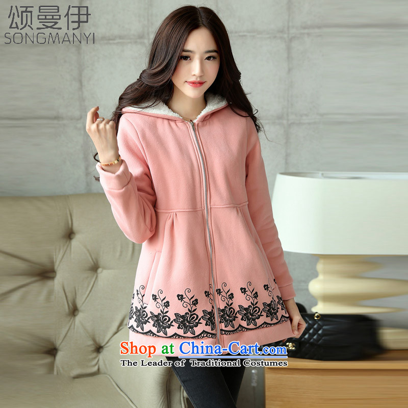Chung Cayman El2015 autumn and winter new larger female 200 catties thick mm thick cotton lint plus jacket female8816XXXL Pink