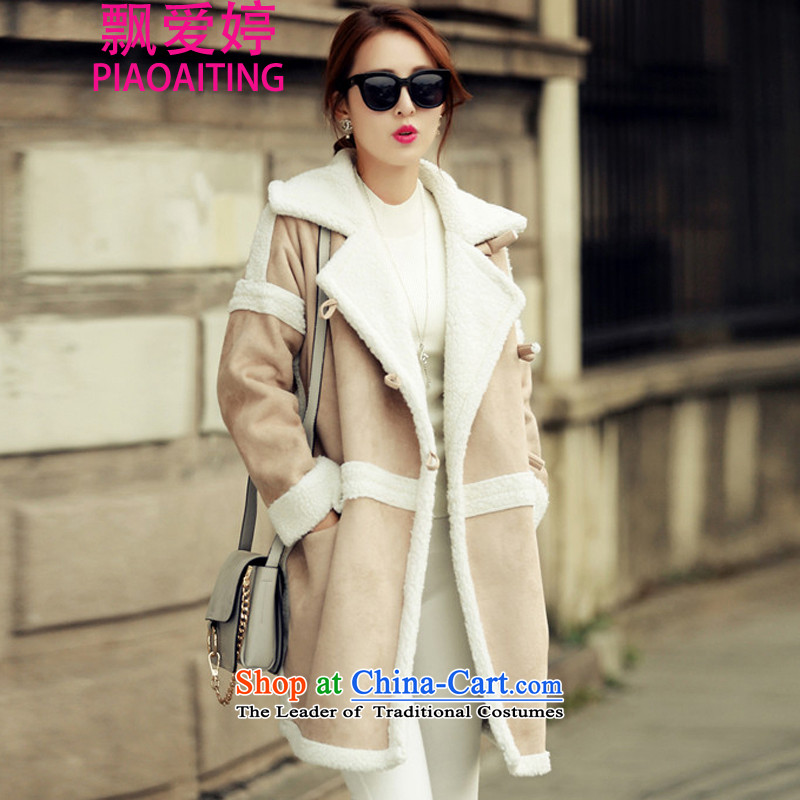 Piao Love Ting 2015 autumn and winter coats gross new female wool male lambs?? lapel jacket gross young female picture color coat terminal聽M