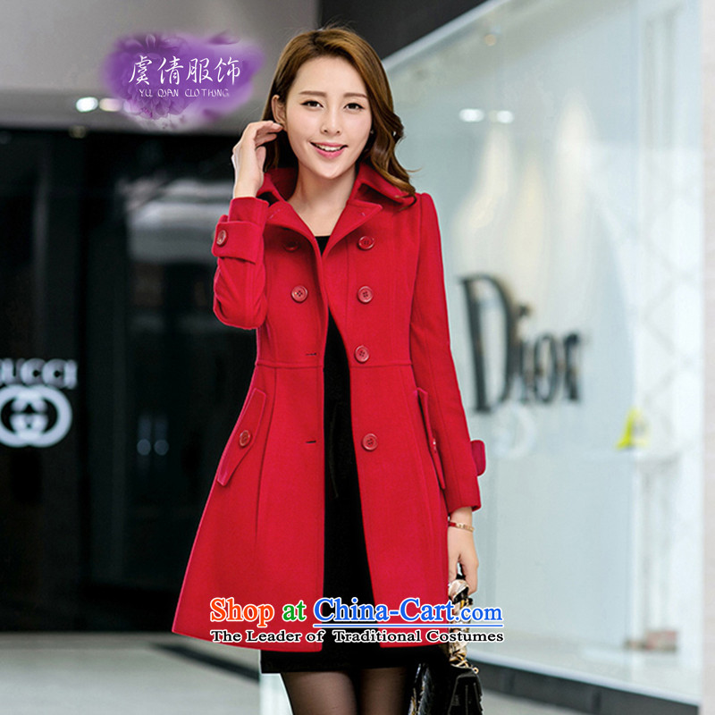 Yu Chien YQ 2015 autumn and winter New Women Korean cloak over the medium to longer term gross coats female Y289? RED M