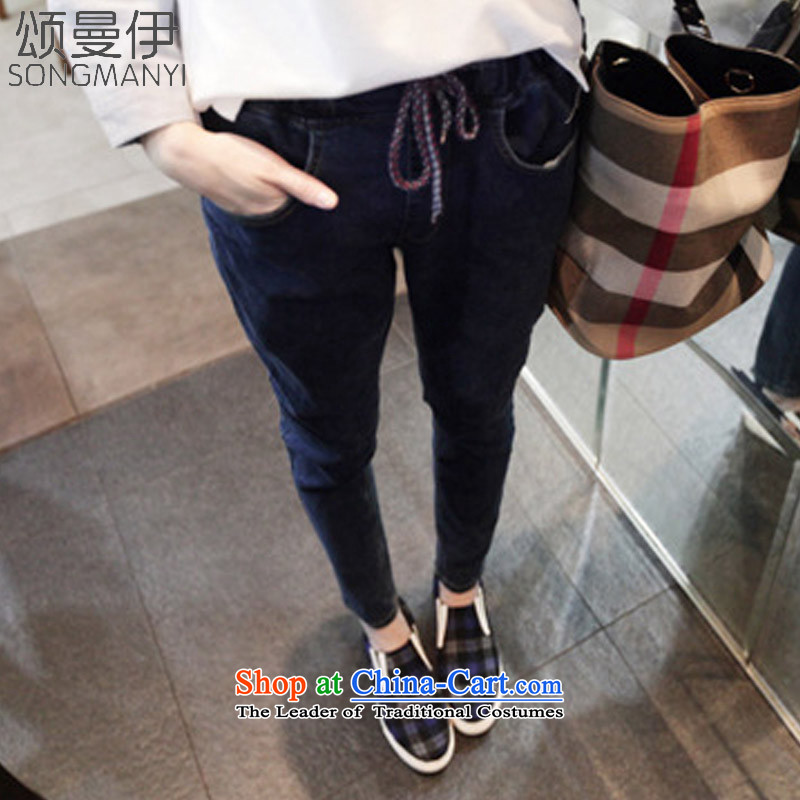Chung Cayman El�15 autumn and winter new larger female 200 catties elastic waist relaxd MM thick autumn and winter jeans燿ark blue燲XXL MODEL 6128